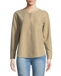 Evidnt Lace Back Twill Blouse Taupe