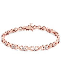 Macy's Diamond Flower Link Bracelet 1 10 Ct. Tw. In Sterling Silver Or 14K Yellow Gold Plated Sterling Silver Or 14K Rose Gold Plated Sterling Silver