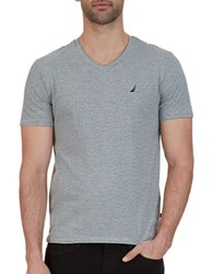 Nautica Slim Fit Striped V Neck Tee Grey Heather