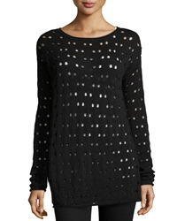 Catherine Catherine Malandrino Open Dotted Knit Sweater Black