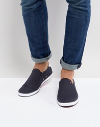 Tommy Hilfiger Iconic Slip On Canvas Plimsolls In Navy
