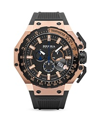 Brera Orologi Gran Turismo 14K Rose Gold And Black Ionic Plated Stainless Steel Watch With Black Rubber Strap 54Mm