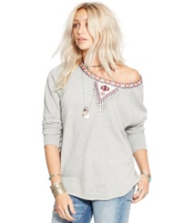 Denim And Supply Ralph Lauren Beaded Relaxed Fit Sweatshirt Vintage Grey