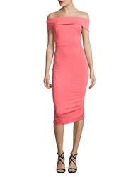 Nicole Bakti Off The Shoulder Ruffled Back Dress Coral