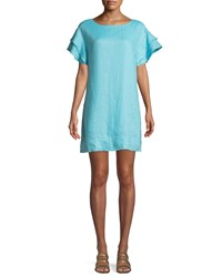 Finley Butterfly Sleeve Shift Linen Dress Turquoise