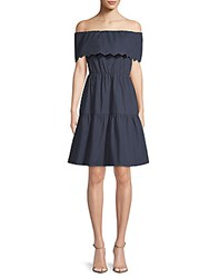 Saks Fifth Avenue Cotton Off The Shoulder Dress Navy