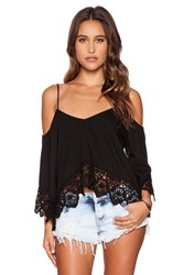 Nightcap Crochet Jersey Ruffle Top Black