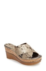 Donald J Pliner Women's 'Dani' Crisscross Wedge Sandal Light Bronze Print Leather