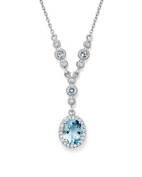 Bloomingdale's Aquamarine Oval And Diamond Y Necklace In 14K White Gold 16 Blue White