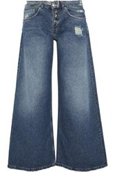 Each X Other Belted Distressed Mid Rise Wide Leg Jeans Mid Denim
