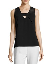 Neiman Marcus Keyhole Mesh Shoulder Top Black
