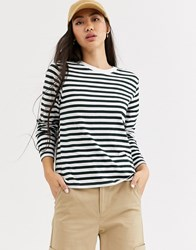 Weekday Alanis Striped Long Sleeve T Shirt In Teal And White Multi