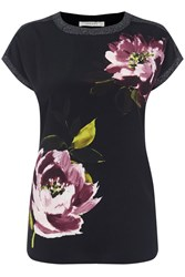 Oasis Painted Floral Woven Front Tee Black