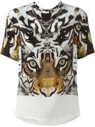 Roberto Cavalli Tiger Print T Shirt Blouse Nude And Neutrals