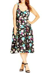 City Chic Plus Size Women's 'Fresh Floral' Belted Print Sweetheart Neck A Line Dress