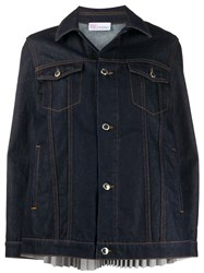 Red Valentino Pleated Denim Jacket 60