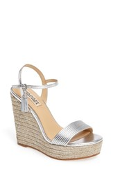 Badgley Mischka Women's Trace Strappy Platform Wedge Sandal Silver Leather