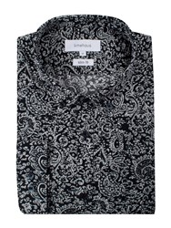 Limehaus Men's Navy Abstract Paisley Button Down Shirt Blue