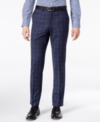 Dkny Men's Modern Fit Stretch Blue Plaid Suit Pants Navy
