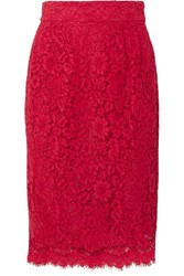 J.Crew Lace Pencil Skirt Red
