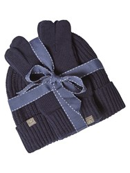 White Stuff Peter Hat And Glove Gift Set Navy
