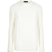 River Island Mens Cream Cable Knit Crew Neck Jumper