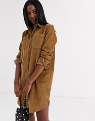 Pieces Cord Shirt Dress In Tan