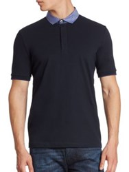 Armani Collezioni Pique Polo With Trim Navy