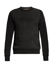 Burberry Equestrian Knight Cotton Blend Sweatshirt Black