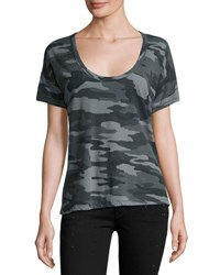 Current Elliott The Slouchy Scoop Neck Tee Black Camouflage Black Pattern
