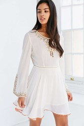 Ecote Holly Embroidered Bell Sleeve Mini Dress Ivory