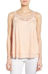 Women's Caslon Lace Detail Tiered Tank Coral Pale