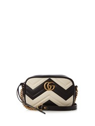 Gucci Gg Marmont Quilted Leather Cross Body Bag Black White