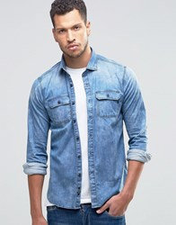 Replay Denim Shirt Light Wash Light Wash Blue