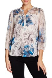 Rebecca Taylor 3 4 Length Sleeve Silk Floral Blouse White