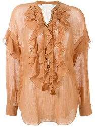 Chloa Ruffle Shirt Yellow And Orange