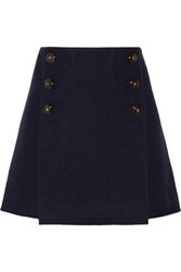 Sonia Rykiel Boiled Wool Mini Skirt Navy