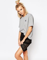 Le Coq Sportif Grey Oversized Boyfriend T Shirt With Small Logo Light Heather Grey