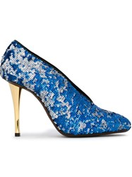 Lanvin Sequin Embellished Stilettos Blue