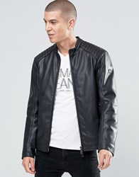Armani Jeans Biker Jacket In Faux Leather Black