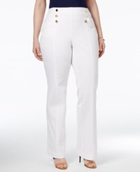 Inc International Concepts Plus Size Flared Sailor Pants Only At Macy's Bright White
