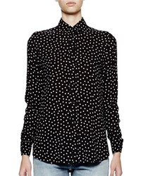 Saint Laurent Long Sleeve Polka Dot Blouse Black White Men's Size 35