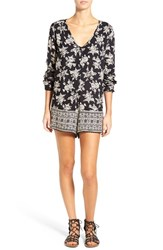 Volcom Women's 'On The Brink' Floral Print Long Sleeve Romper Black On Black