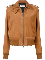 Zadig And Voltaire Fashion Show Distressed Leather Jacket Brown