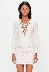 Missguided White Lace Up Front Bodycon Dress