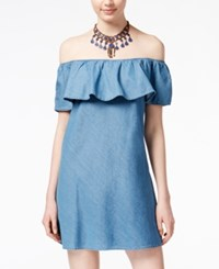 American Rag Ruffled Off The Shoulder Chambray Dress Only At Macy's Med Denim Wash