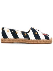Dolce And Gabbana Anchor Striped Espadrilles Blue