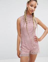 Pixie And Diamond Lace Playsuit Light Pink