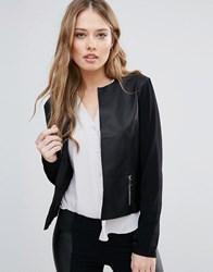 Only Hope Kim Faux Leather Collarless Jacket Black
