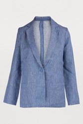 Majestic Filatures Long Sleeve Striped Linen Jacket Positano Blue